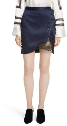 Self-Portrait Satin Utility Miniskirt