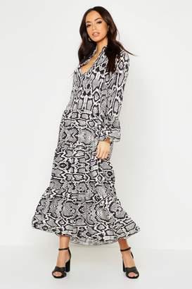 boohoo Snake Print Maxi Smock Dress