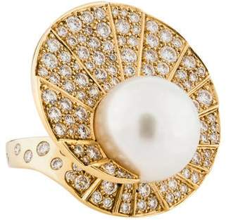 Chanel 18K Pearl & Diamond Volute Ring