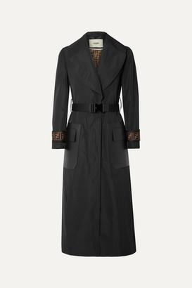 Fendi Belted Jacquard And Leather-trimmed Gabardine Trench Coat - Black