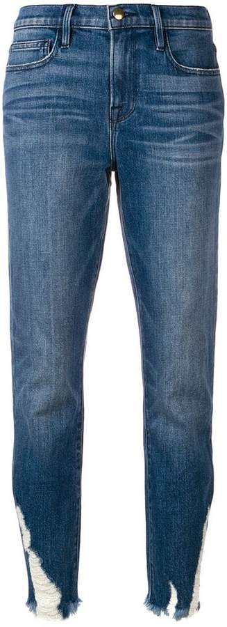 distressed hem slim-fit jeans