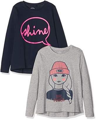Name It Girl's Nkfviolet 2p Ls Loose Top S Long Sleeve (Dark Sapphire Dawn Pink), Pack of 2
