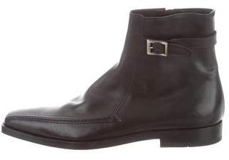 Prada Leather Square-Toe Ankle Boots