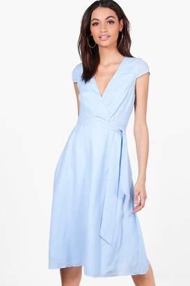 boohoo Ashton Cap Sleeve Wrap Midi Dress