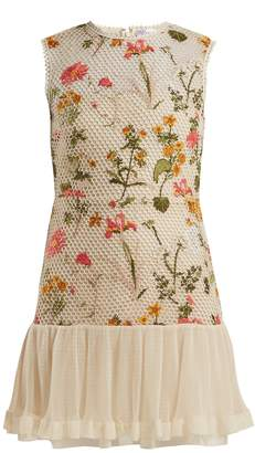 RED Valentino Floral-embroidered mini dress
