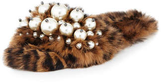 Miu Miu Pearly Fur Slide Sandals, Leopard