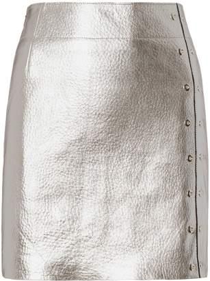 Veda Silver Metallic Leather Mini Skirt