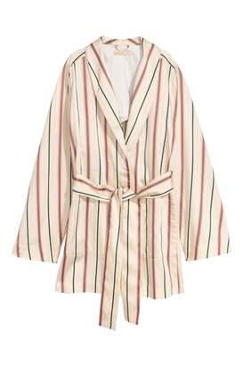 H&M Satin Jacket - Natural white/striped - Women