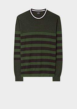 Paul Smith Men's Khaki Stripe Crew Neck Sweater With Textured Collar