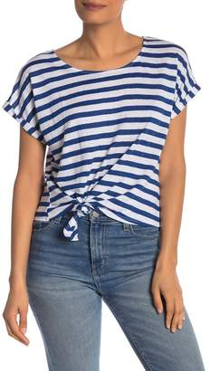 Frame Striped Linen Tie Front Knot T-Shirt