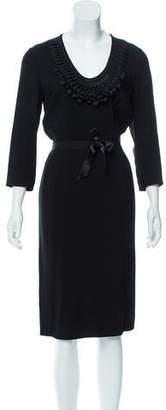 Valentino Satin-Trimmed Midi Dress