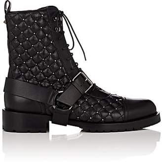Valentino Women's Rockstud Spike Leather Combat Boots - Black