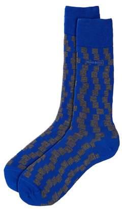 BOSS Two-Tone Square Pattern Sock