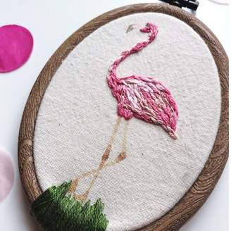 House O'Fellows Flamingo Embroidery Hoop