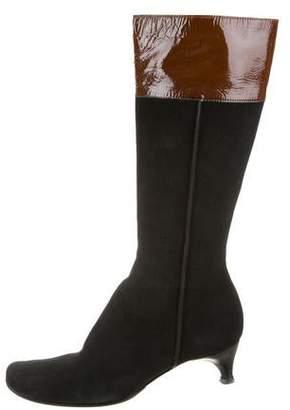 Sigerson Morrison Suede Square-Toe Boots