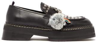 Eytys Phoenix Studded Charm Leather Loafers - Womens - Black