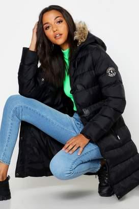boohoo Tall Toggle Front Faaux Fur Trim Hooded Padded Coat