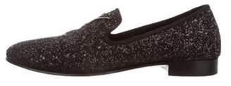 Giuseppe Zanotti Glitter Round-Toe Loafers black Glitter Round-Toe Loafers