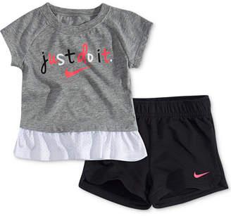 912f339ff Nike Baby Girls 2-Pc. Logo-Print Peplum Top & Shorts Set