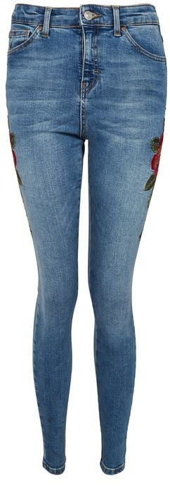 Topshop Topshop Moto blue embroidered jamie jeans