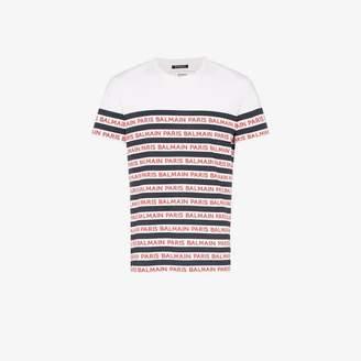57afcea9 at Browns Fashion · Balmain stripe logo cotton T-shirt