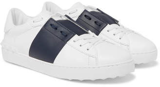 Valentino Garavani Open Striped Leather Sneakers - White
