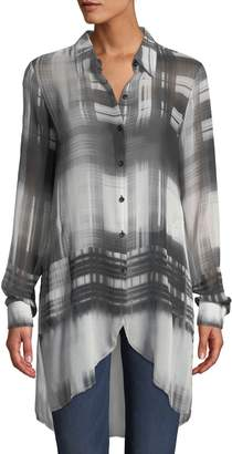 Go Silk Go Sheer Plaid Chiffon Caftan