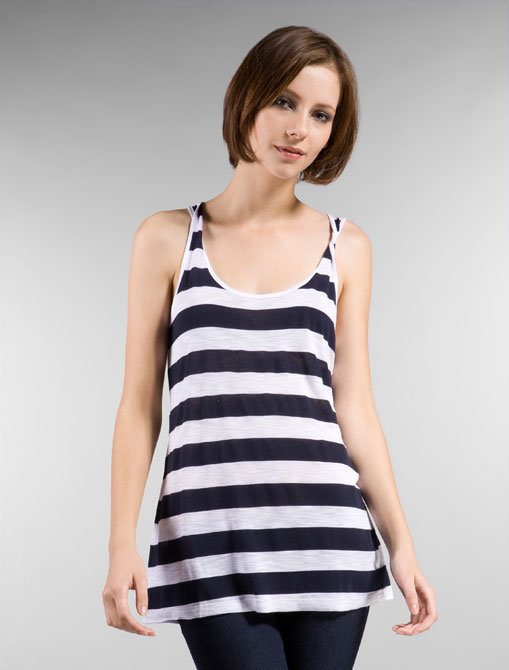 Splendid Navy Slub Shadow Stripe Tank