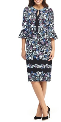 Maggy London Printed Ruffle Sleeve Dress