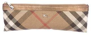 Burberry Metallic Leather-Trimmed Nova Check Zip Pouch