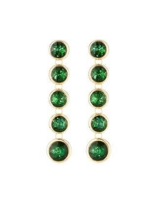Lydell NYC Linear Crystal Drop Earrings, Green