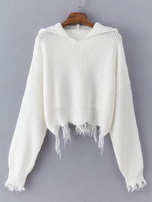 d7f8760c02ac Shein Frayed Hem Solid Hooded Sweater