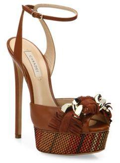 Casadei Fringe Leather Ankle-Strap Platform Sandals $895 thestylecure.com