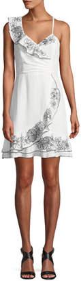 Parker Jay Floral Linen Flounce Mini Dress