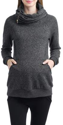 Kimi and Kai 'Thea' Zip Collar Maternity Sweatshirt
