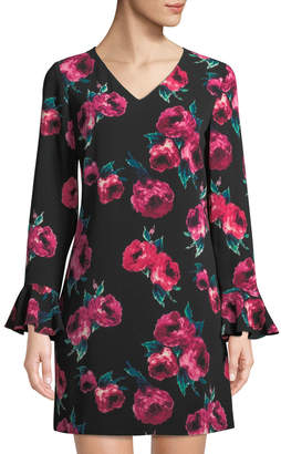 Tahari ASL Floral V-Neck Flare-Sleeve Dress