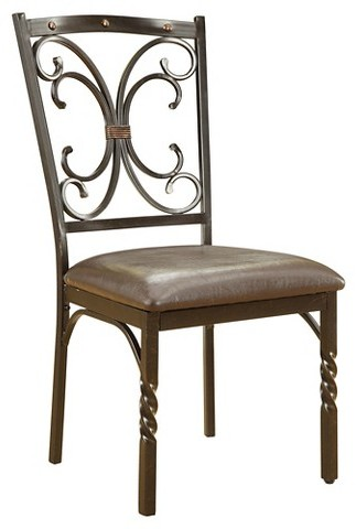 Acme ACME Burril Side Dining Chair (Set of 2) - Faux Marble and Black