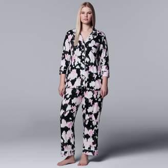 Vera Wang Plus Size Simply Vera Printed Notch Collar Shirt & Pants Pajama Set