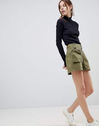 Asos DESIGN shorts with detachable fanny pack in khaki