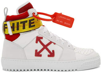 Off-White White and Red Industrial High-Top Sneakers
