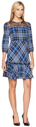 Donna Morgan Lace Yoke Plaid Fit and Flare Women's Dress