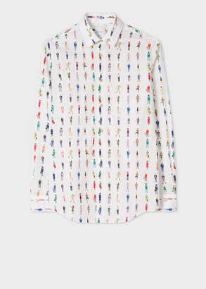 Paul Smith Men's Tailored-Fit White 'People' Print Cotton Shirt