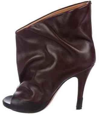 Maison Margiela Leather Peep-Toe Ankle Boots