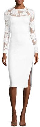 Black Halo Zuri Long-Sleeve Scuba Cocktail Dress, Whip Cream $575 thestylecure.com