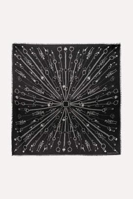 Alexander McQueen Printed Modal And Wool-blend Scarf - Black