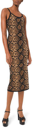 Michael Kors Stretch Metallic Python Slip Dress