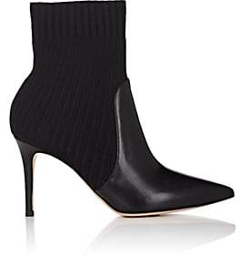 Gianvito Rossi Women's Katie Leather & Knit Ankle Boots - Black