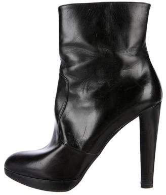 Brian Atwood Leather Pointed-Toe Ankle Boots