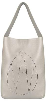 Amanda Wakeley Silver Leather Jovi Handbag