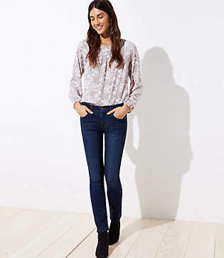 LOFT Modern Straight Leg Jeans in Dark Indigo Wash